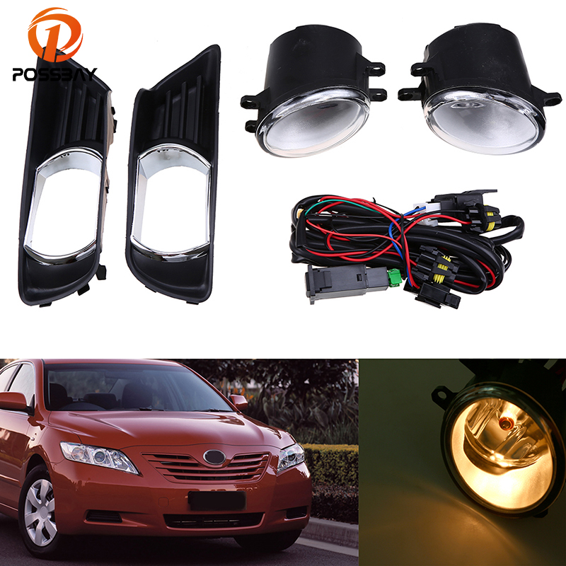 POSSBAY Front Lower Left Right Side Bumper Fog Light Grille Cover + Fog Lamps for Toyota Camry XV40 2007 2008 2009 Pre-facelift front lower left right bumper fog light grille cover fog light lamp kit set for honda accord 4door 1998 2002