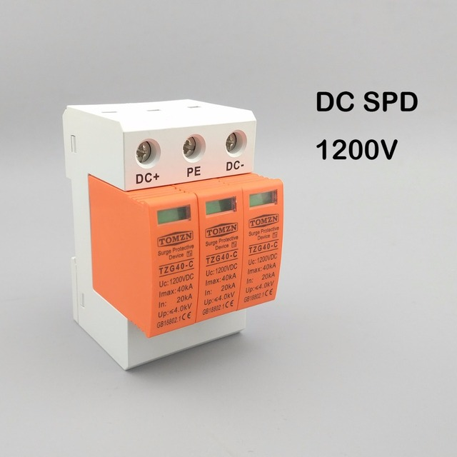SPD DC 1200V 20KA~40KA House Surge Protector Protective Low voltage ...