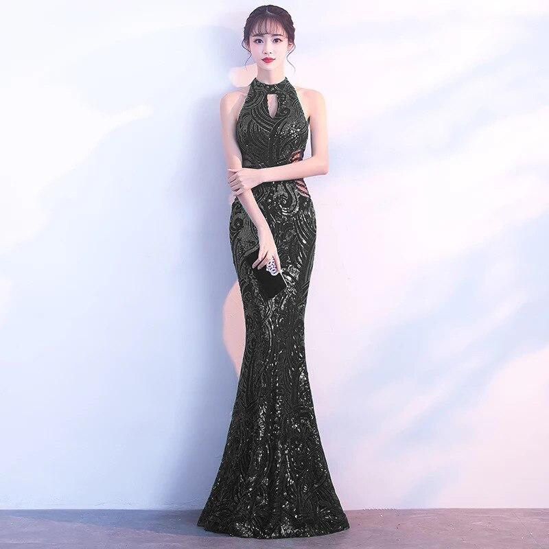 Noir Paisley paillettes évider licou sans manches élégant sirène robes Sexy longue soirée robe de soirée chaude discothèque porter 2018