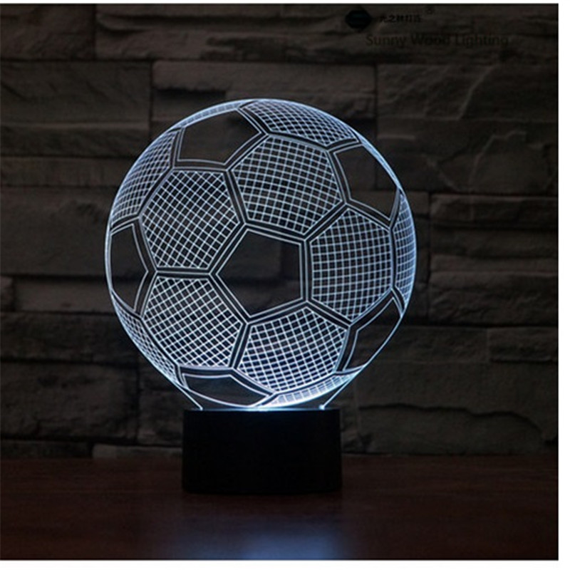 Football touch LED 3D lamp,Visual Illusion 7color changing 5V USB for laptop,Christmas cartoon toy lamp