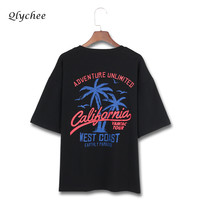 Qlychee Summer Street Casual T Shirt Women Tops Clothing Coconut Tree Letter Print Short Sleeve Female