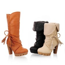 Fashion High Heel Rough Toe Women's Winter Snow Mid Calf Boots On Sale Lace Up Brown Chunky Heels Ankle Booties Shoes