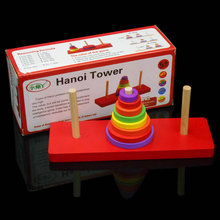 Free shipping Children Wooden Blocks Hanoi Tower,Baby Educational wood toys Desktop games/Table Game Adult toys