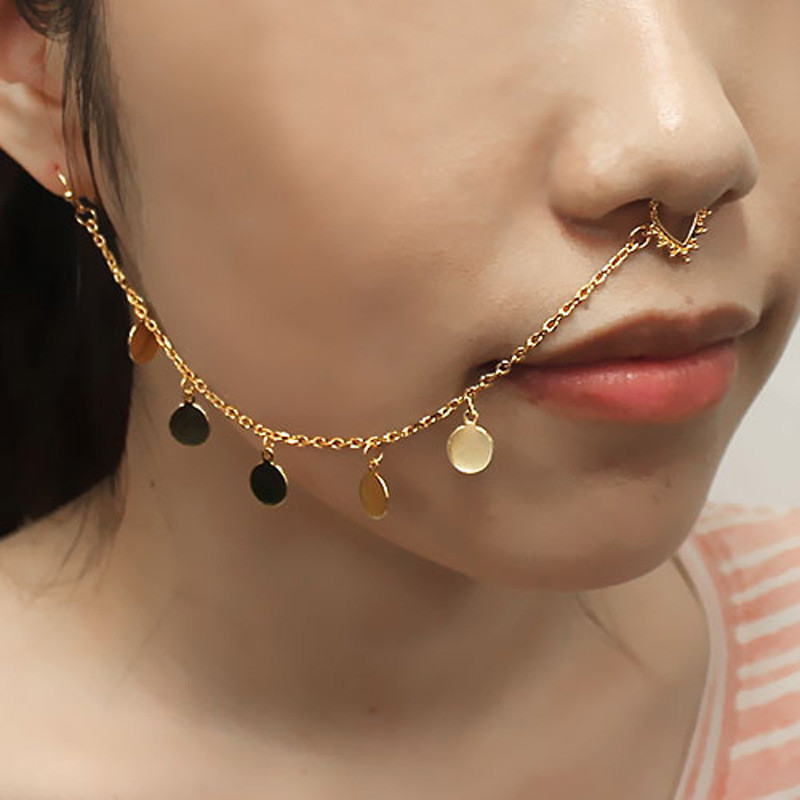 Silver Skull Faux Wedding Septum Nose Chian South Indian Bridal Nose