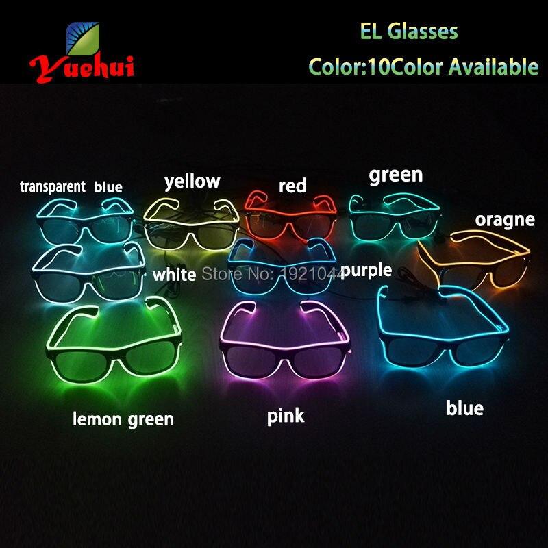 30 штук Оптовая EL светящийся товаров EL Провода свет Очки LED Очки украшения с устойчивым на драйвер Неоновые украшения для вечеринок