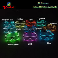 30pieces Wholesale EL Glowing Product EL Wire Light up Glasses LED glasses decoration with Steady on Driver Glow Party Supplies