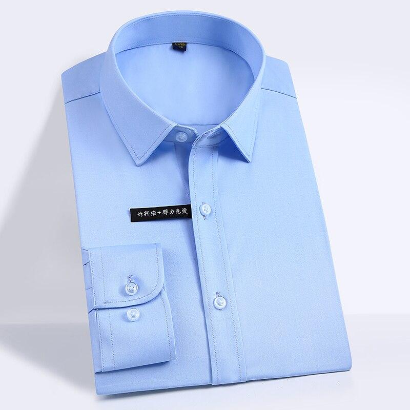 Hommes de Fiber De Bambou Régulière-fit Robe Chemises Facile Soins Solide À Long Manches Smart Casual Confortable Non Fer Mâle formelle Tops Chemise