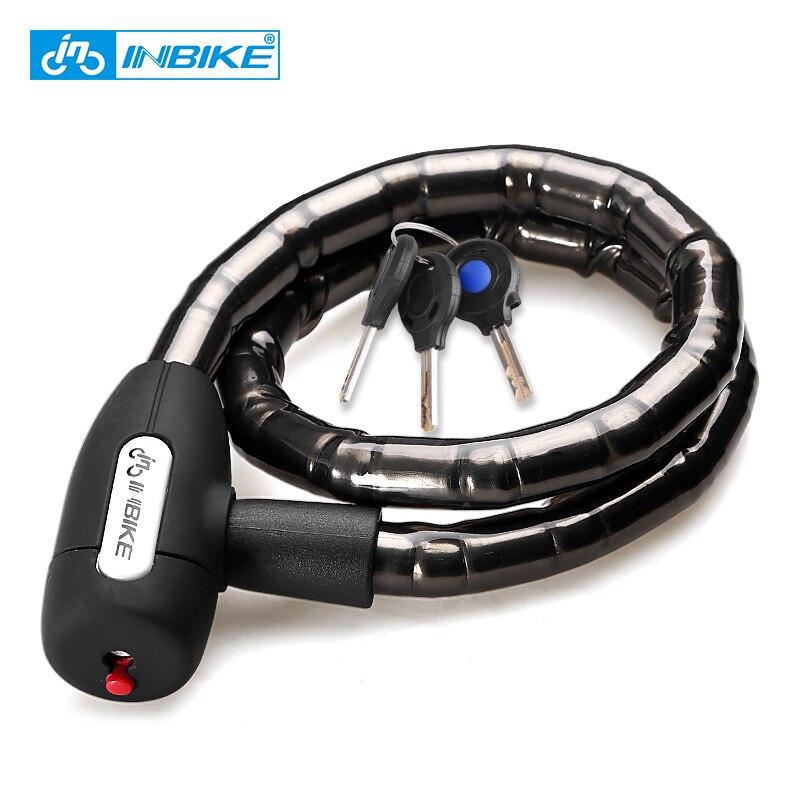 Inbike mtb bike cable lock 0.85m impermeável anti-roubo bloqueio de bicicleta com 3 chaves acessórios de ciclismo