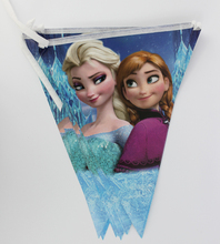 Frozen movie Elsa Anna Kid Boy Girl Baby Happy Birthday Party Decorations Kids Supplies Favors Frozen Pennant 12Flags 1Pack