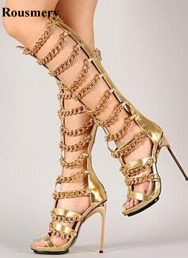 New Fashion Women Open Toe Knee High Chain Design Gladiator Boots Gold Black Silver Stiletto High Heel Sandal Boots Dress ShoesNew Fashion Women Open Toe Knee High Chain Design Gladiator Boots Gold Black Silver Stiletto High Heel Sandal Boots Dress Shoes