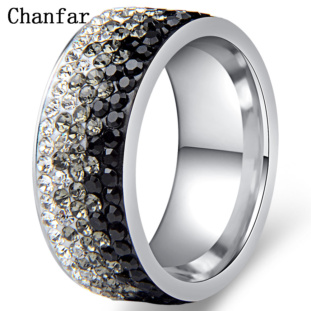 Chanfar Hot Sale Elegant AAA font b Crystal b font Ring Charm Stainless Steel Love Rings