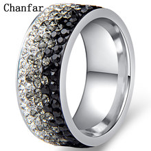 Chanfar Hot Sale Elegant AAA Crystal Ring Charm Stainless Steel Love Rings For Women Female Male Jewelry 6 7 8 9 10 sizes