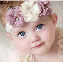 24Clrs New Fashion Hot dzieci Kids Baby Girls Pearl Diamond 3 kwiaty HEADBAND Headwear włosy Band Head Piece akcesoria tanie tanio Headbands Chiffon Cotton Dziewczyny Moda bestybt YBT30055 Kwiatowy 12 cm od