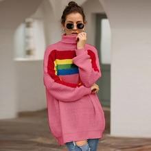 цена на Women's Knitted Jacket Fashion Rainbow Colorblock Colorblock Long Sleeve Turtleneck Knit Sweater Long Loose Women's Sweater 2019