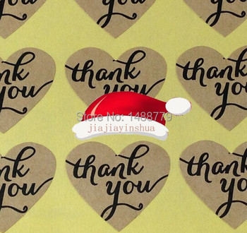 Factory Direct 5000pcs/lot  thank you Heart shape Sticker Label Kraft paper stickers handmade