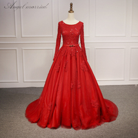 Angel married Elegant evening dresses Red Prom Dress 2018 long sleeve appliques lace women formal party gown vestido de festa