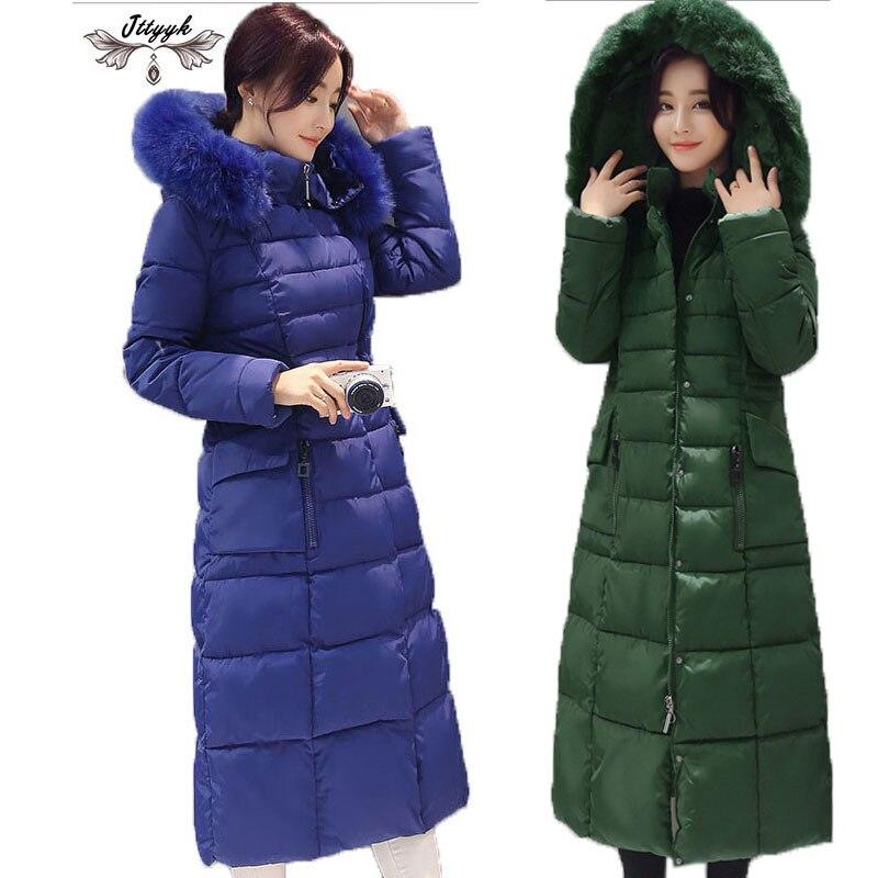5XL Plus Size Long Winter Coat Women With Fur Hood Parkas Ladies Thicken down jacket Women