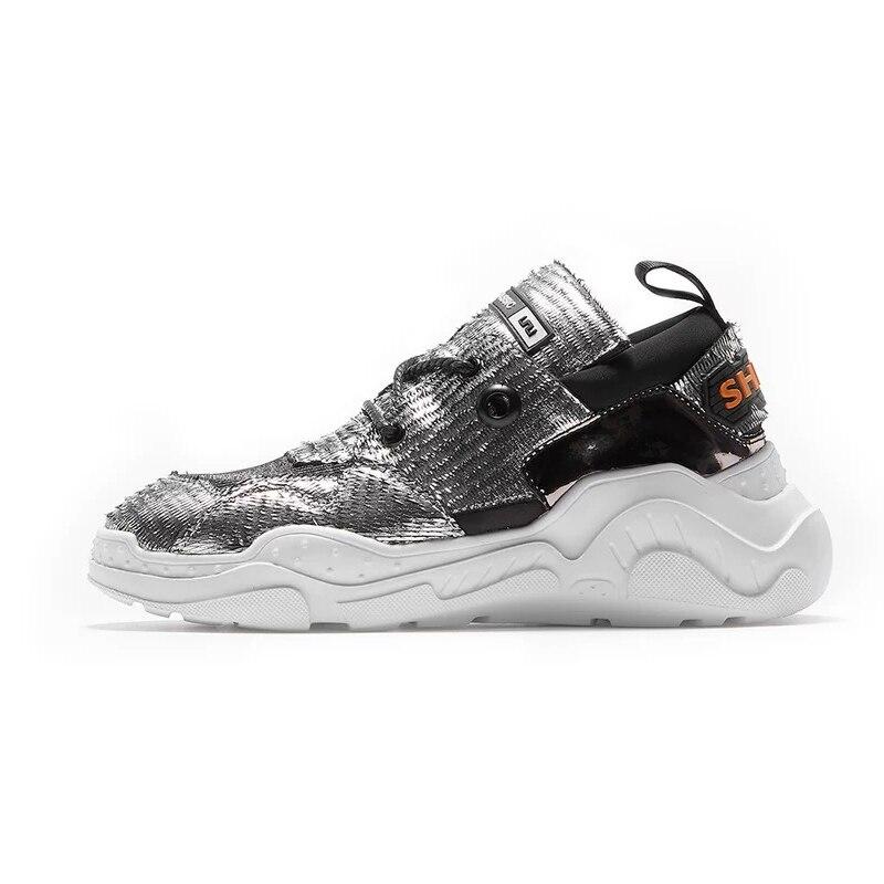 Mujer Feminino High Echte Silber Boden Reale Zapatos Igu Leder Street Turnschuhe De Plattform Dicken Casual Schuhe Tenis Frauen qw1nxa7
