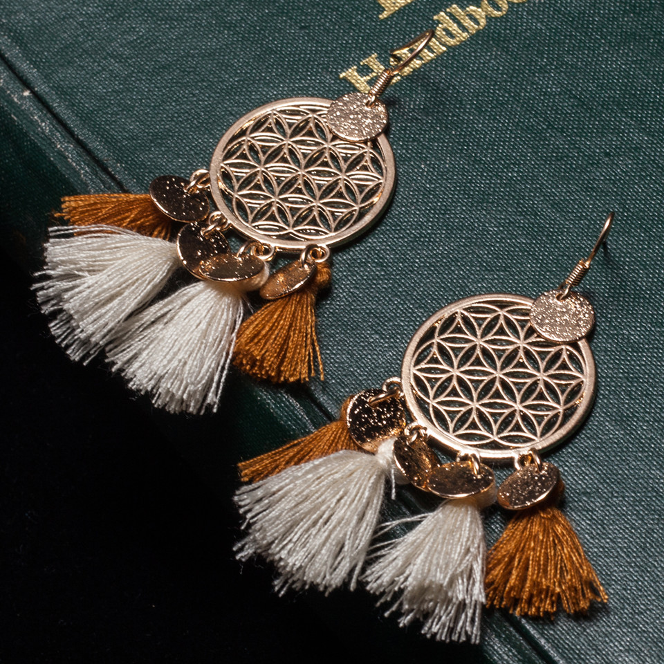 Gold color round sequins boho ethnic tassel drop earrings Women ladies 2017 fashion earring bohemia statement vintage wedding