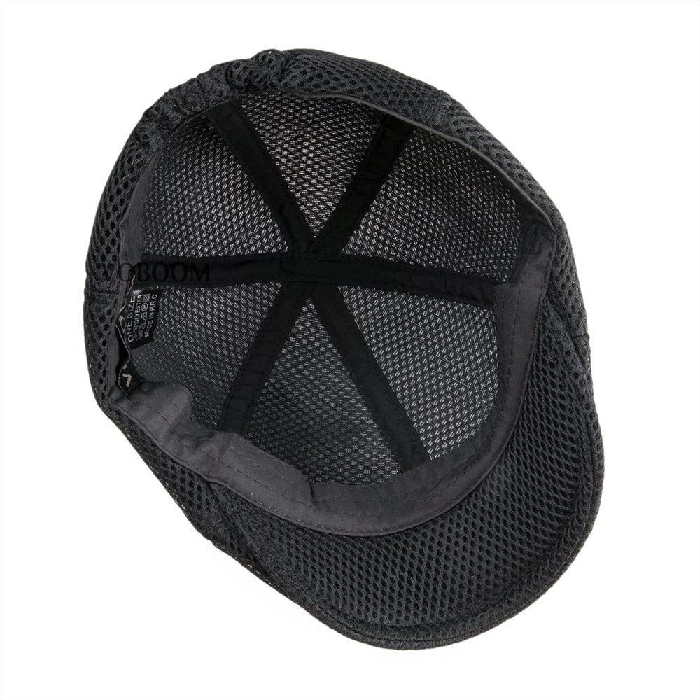 9e62bea6f47 VOBOOM Summer Black Flat Cap Men Women Breathable Newsboy Caps 6 Panel  Lightweight Driver Beret Hat Baker Boina 125-in Newsboy Caps from Apparel  Accessories ...
