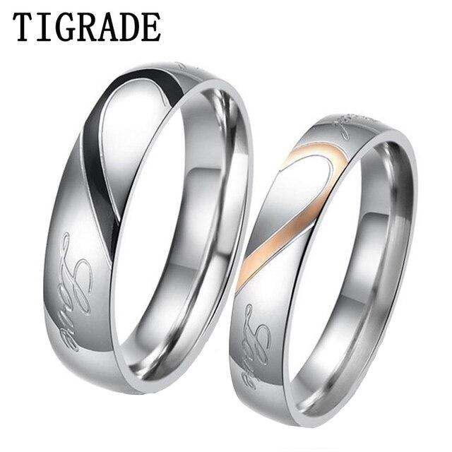 Tigrade Stainless Steel Rings Men Women Matching Love Heart Engagement Wedding Band Promise For