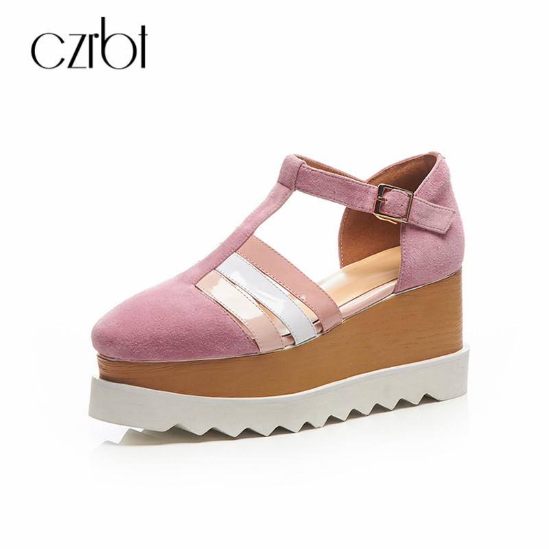 CZRBT Gladiator Sandals Women Flat 2018 Summer Thick Bottom Platform Casual Buckle Strap Shoes Rome Style Mixed Colors Shoes phyanic 2017 summer gladiator sandals straw platform creepers silver shoes woman buckle casual women flats shoes phy4046