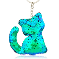 6.5 7.5CM Kawaii Pet Cat Keychain Glitter Sequins Animal Kitten Keyring For  Car Women 40789609c85f