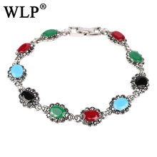 WLP New 2018 Bohemian Bracelets Unique Retro Bracelets For Women Ancient Gold And Silver Color Rhinestone Resin Jewelry W0008