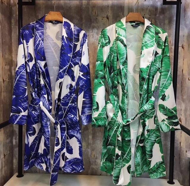 ffb47ee7f1 New Fashion Autumn Women Long Bathrobe Banana Leaves Printed Night Robe  Satin Silk Sleepwear Nightwear Home