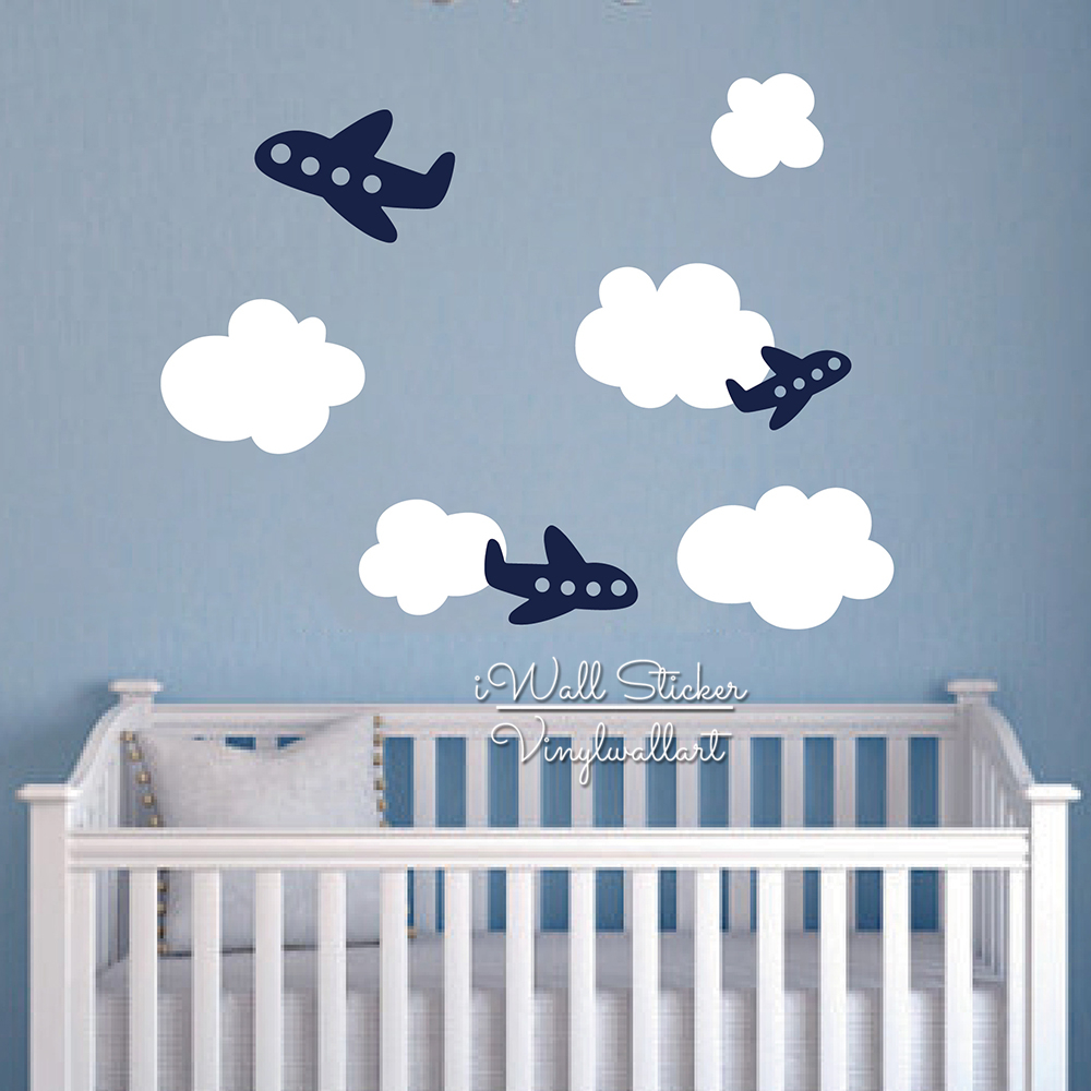 Baby Nursery Clouds Airplane Wall Sticker Cartoon Clouds Plane Wall Decal Children Room Wall Sticker Kids Decors Cut Vinyl N45 image