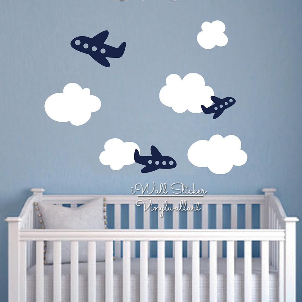 beb nursery etiqueta de la pared de dibujos animados nubes nubes avin plane etiqueta de la