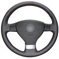 Couro artificial preto tampa da roda de direcção do carro para volkswagen golf 5 mk5 vw passat b6 jetta 5 mk5 tiguan 2007-2011