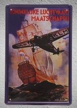 1 Plane KLM Ship Sea Aviation War Flying Artist Tin Plate Sign wall man cave Decoration Art Poster metal vintage home