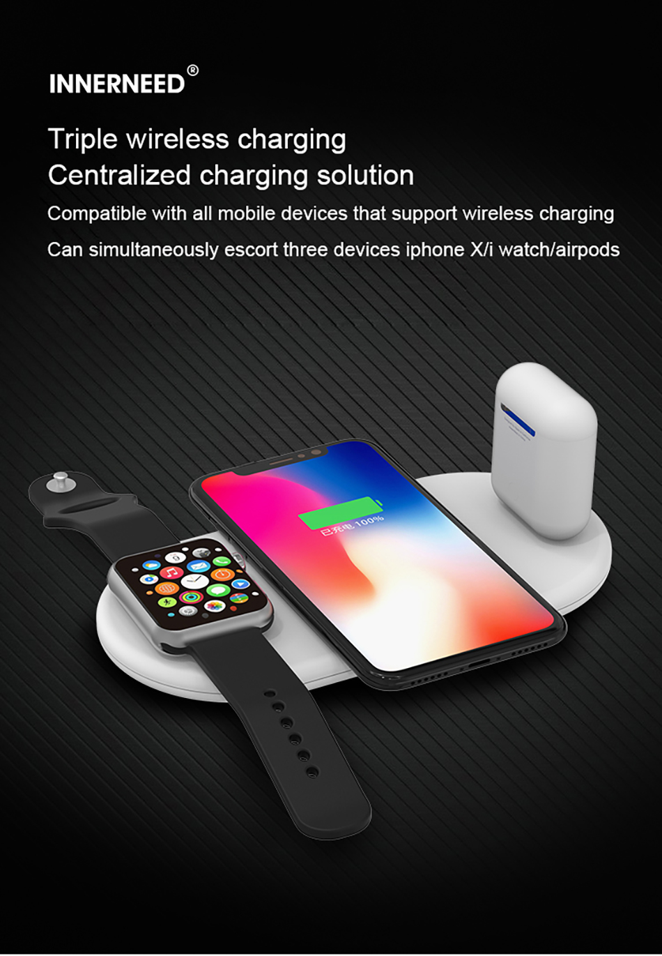 !ACCEZZ Qi Wireless Charger Fast Charging 3 in 1 For iPhone X XS Max 10W For Apple Watch Airpods USB Qi Charger Pad For Samsung (1)