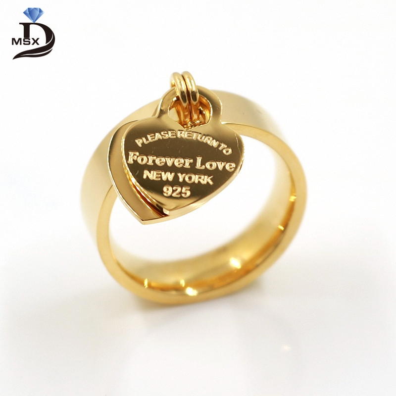Size 6-10 Female Love Ring Pendant Stainless Steel Gold Plating Charm Double Hearts Rings For Women Luxury Girl Jewelry Pendants