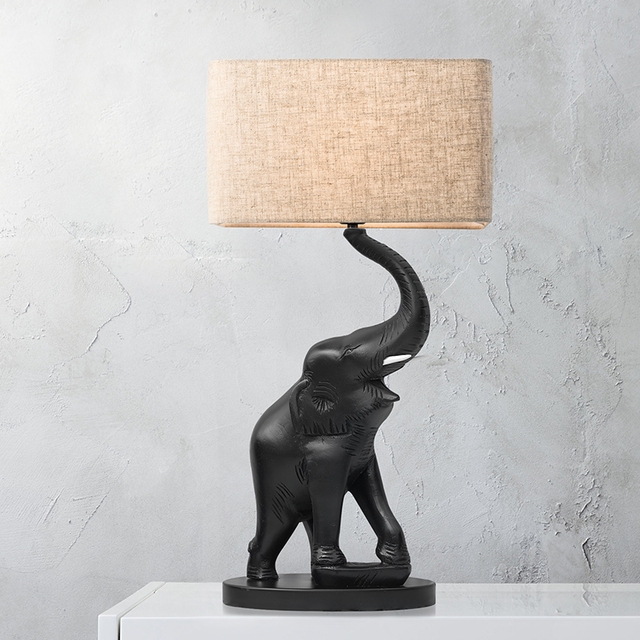 Luxury Animal Black Elephant Table Lamp Living Room Classical Bedroom  Bedside Table Lights Fabric Lampshade Home