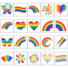 Rocooart Waterproof Rainbow Flag Stickers Tattoos Face Cosmetic Colorful Temporary Tattoo Shinning Butterfly Heart Tatoo