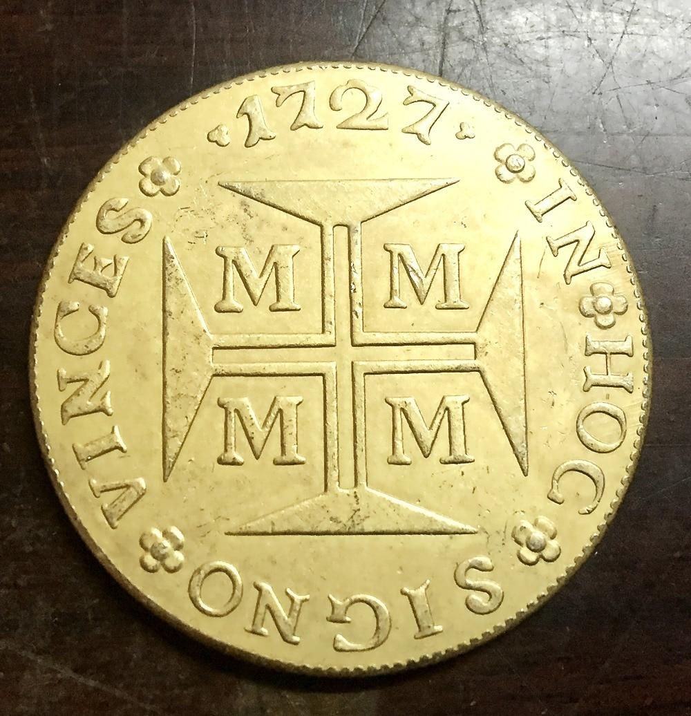 Хороший 1727 м Бразилия 20000 Reis-Жоао V копия 22 К позолоченные монеты