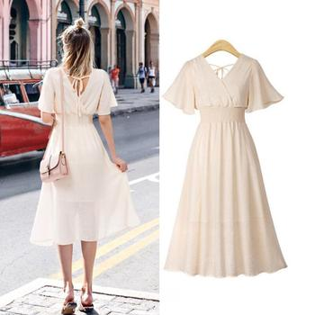 plus size dress white bandage elegant midi pink chiffon black office summer ruffle big vestiti donna v neck tallas grandes mujer 1