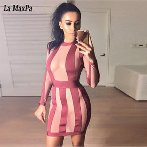 1233dc78631 La MaxPa Women Stripe Sexy Party Bandage Dress Vestidos