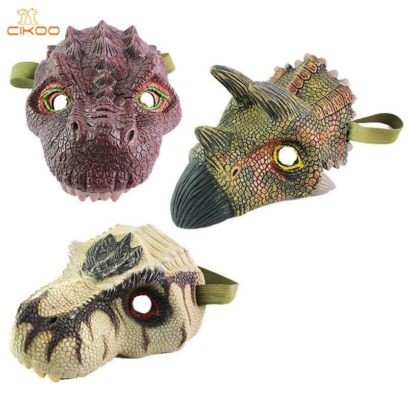 Cikoo Юрского периода Хэллоуин Реалистичная маски динозавра Игрушечные лошадки Фигурки героев Игрушки-приколы детские игрушки подарки