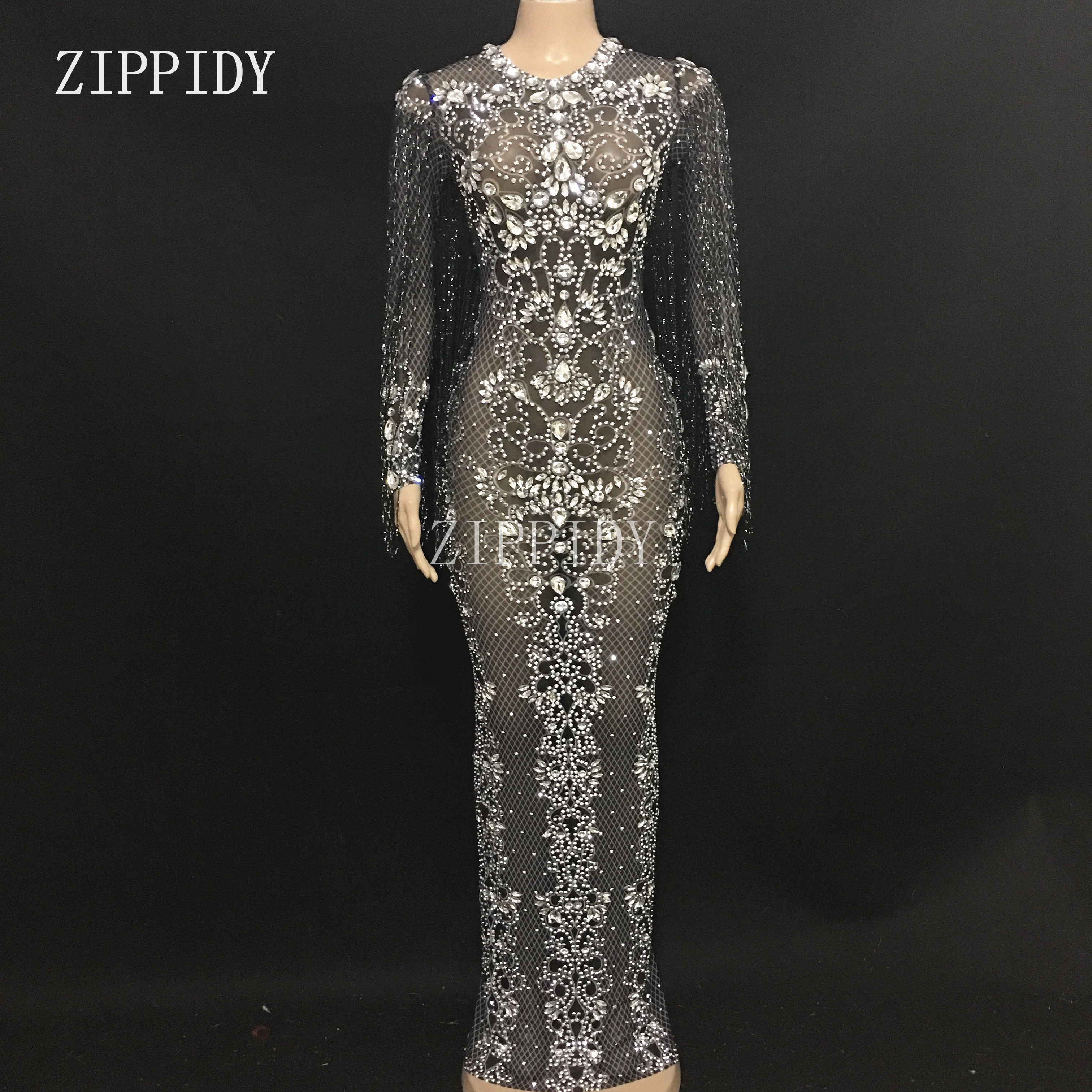 Maille noire voir à travers les cristaux longue robe soirée strass robes anniversaire gland Costume franges robe YOUDU-in Robes from Mode Femme et Accessoires    1