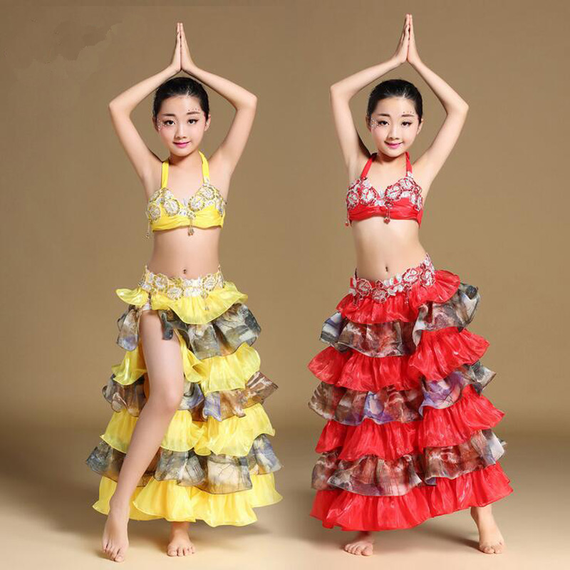 New Arrival Kids/child Belly Dance Costumes Egyptian Style Dancing Wears Suits Children India Bollywood Dance Set Dresses