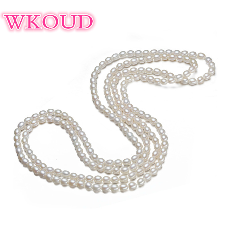 цена на Genuine 100% natural pearl 160cm necklace Multicolor color 6-7mm freshwater pearl sweater chain fashion necklace For women