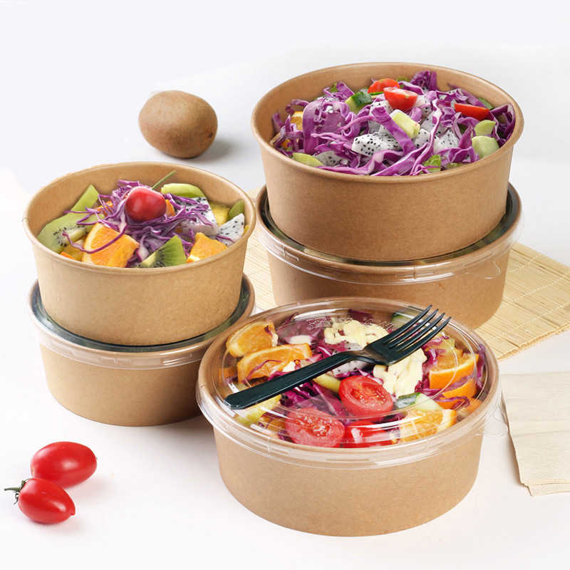 Food Grade Disposable Kraft Paper Salad Packing Box Takeout Food Salad Box Breakfast Fast Food Tray With Lid Take-away Tray