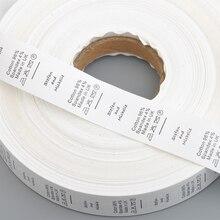 Изготовленный на заказ дизайн 1000 шт/партия Белый Уход за одеждой Этикетка одежда Уход размер бирки моющиеся этикетки нейлон тафты в рулоне