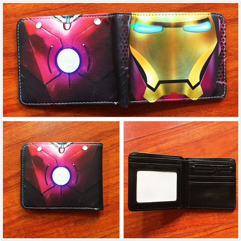 New arrivel Marvel cartoon Anime Iron man Wallet high quality purse Leather Short Wallets W636 high quality pu leather short purse metal gear wallet new fashion anime cartoon billfold with cards photo hold man woman wallet