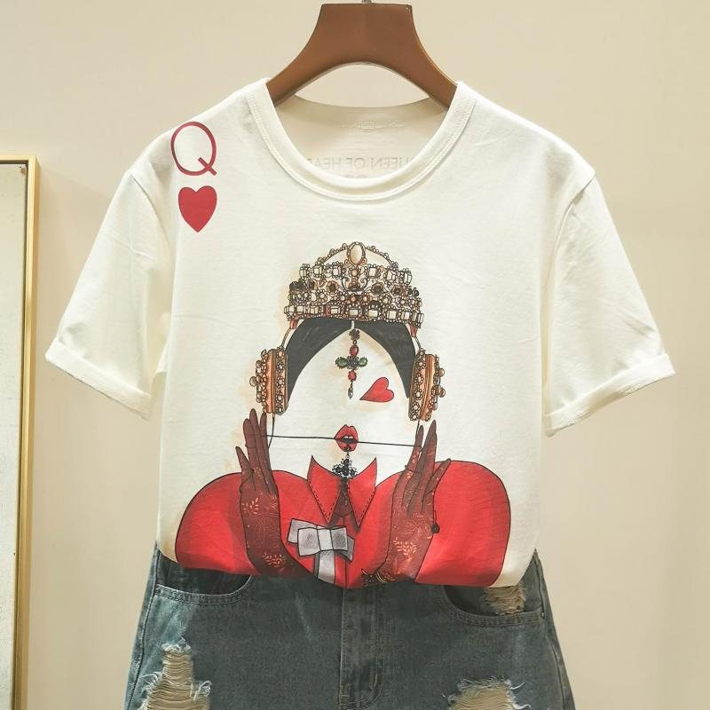 Zuolunouba Playing Cards In Harajuku T Shirt Women New Casual Short Sleeve Summer Tees Tops Loose 4