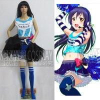 Japanese Anime Love Live Sonoda Umi Cosplay Costume Lolita Blue Cheerleading Uniforms Plus Size
