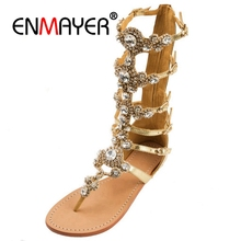 цены ENMAYER Luxury Shinny Rhinestone Flat Gladiator Sandals Bohemia Style Crystal Clip-toe Summer Strap Sandal Shoes Lady Shoe CR175